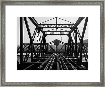 Framed Print featuring the photograph Old Sakonnet River Railroad Bridge Bw by David Gordon