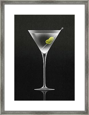 Olives In Martini Cocktail Glass Framed Print