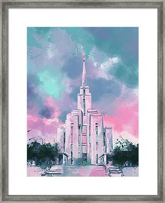 Oquirrh Mountain Temple Watercolor 2 Framed Print