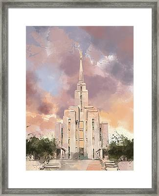 Oquirrh Mountain Temple Watercolor Framed Print