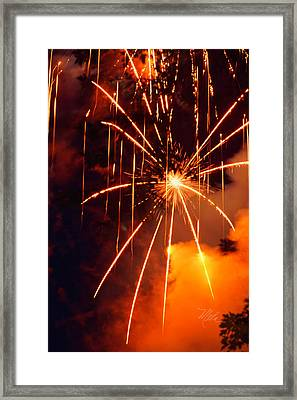 Orange Fireworks Framed Print