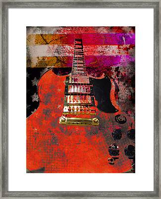 Framed Print featuring the digital art Orange Electric Guitar And American Flag by Guitar Wacky