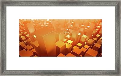 Orange Three Dimensional Rectangular Framed Print by Ralf Hiemisch
