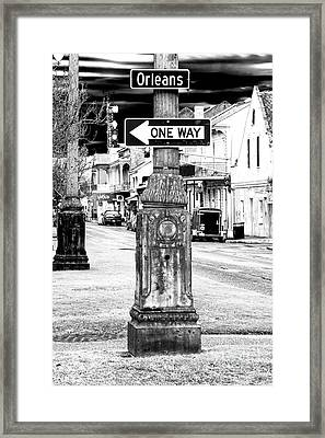Orleans Street One Way Sign Framed Print