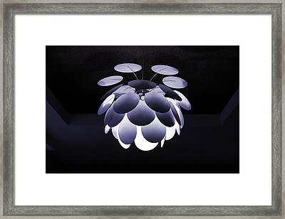 Framed Print featuring the photograph Ornamental Ceiling Light Fixture - Blue by Debi Dalio