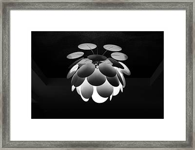 Framed Print featuring the photograph Ornamental Ceiling Light Fixture - Grayscale by Debi Dalio