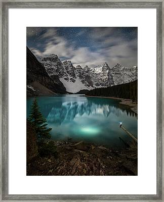 Framed Print featuring the photograph Otherworldly / Moraine Lake, Alberta, Canada by Nicholas Parker