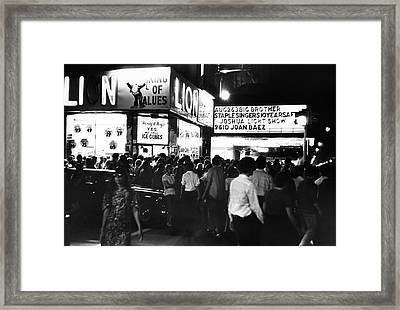 Outside The Fillmore East Framed Print by Fred W. McDarrah