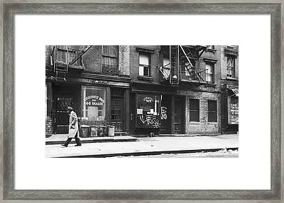 Outside The Peace Eye Bookstore Framed Print by Fred W. McDarrah