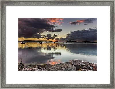 Overcast Waterscape With Hints Of Colour Framed Print