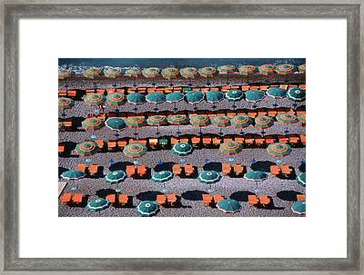 Overhead Of Umbrellas, Deck Chairs On Framed Print
