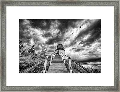 Framed Print featuring the photograph Owls Head Lighthouse In Black And White by Rick Berk