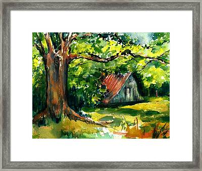 Ozarks Barn In Boxley Valley - Late Summer Framed Print