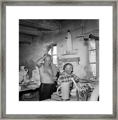 Pablo Picasso And Marc Chagall In 1948 Framed Print