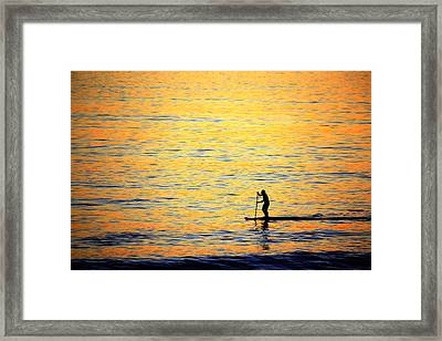 Framed Print featuring the photograph Paddle Boarder Malibu by John Rodrigues