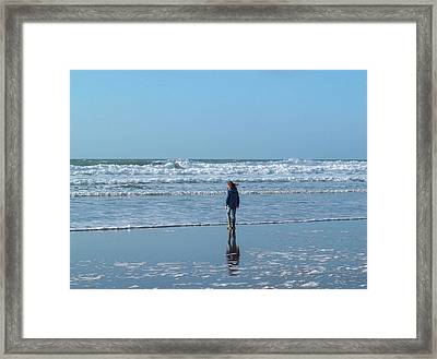 Paddling At Sandymouth Beach North Cornwall Framed Print