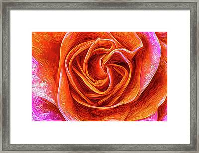 Framed Print featuring the mixed media Painted Rose by Onyonet  Photo Studios