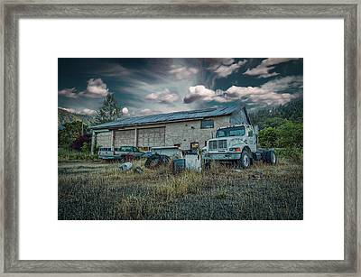 Framed Print featuring the photograph Painted Skies Garage by Bill Posner