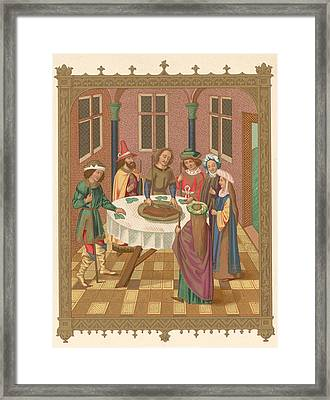 Painting Of Jewish Passover Seder Framed Print by Kean Collection