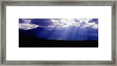 Panoramic Beaming Light In Waterton Framed Print by Jason v