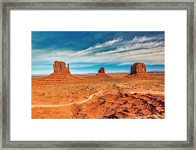 Framed Print featuring the photograph Panoramic Monument Valley by Andy Crawford