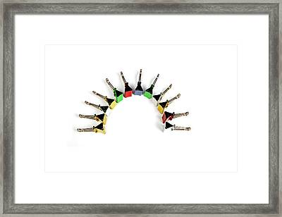 Paper Clips Arranged In A Half Circle Framed Print by Visage