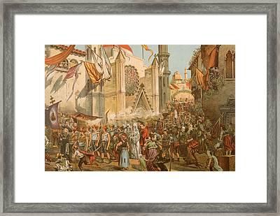 Parade Honoring Magellans Voyage Framed Print by Hulton Archive