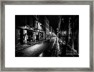 Paris At Night - Rue De Vernueuil Framed Print