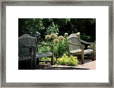 Park Benches At Chicago Botanical Gardens Framed Print