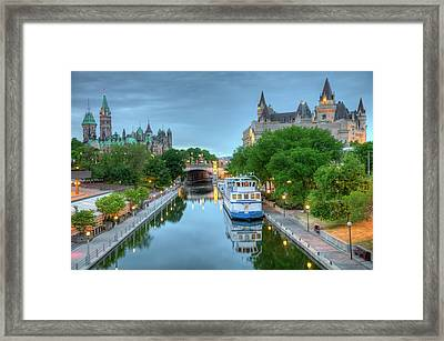 Parliament Hill  On The Rideau Canal Framed Print
