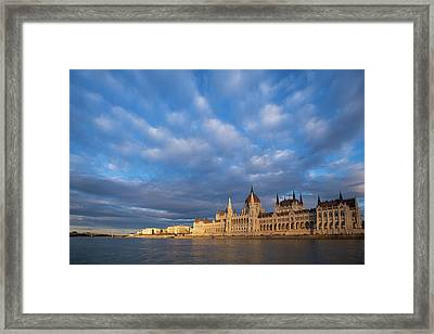 Framed Print featuring the photograph Parliament On The Danube by Davor Zerjav