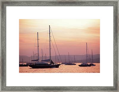 Pastel Dusk Sky And Yachts Framed Print by Secablue