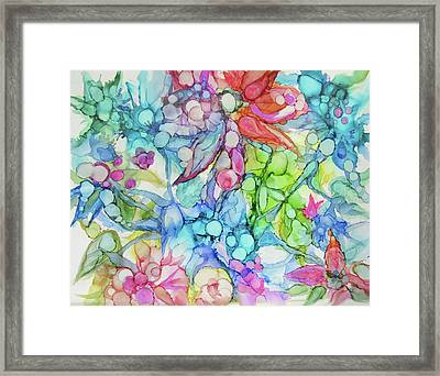 Pastel Flowers - Alcohol Ink Framed Print
