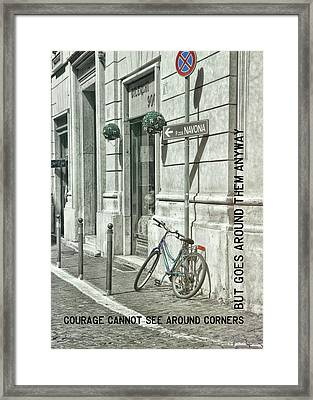 Pedal Through Rome Quote Framed Print by JAMART Photography