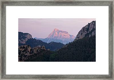 Framed Print featuring the photograph Pena Montanesa Glowing Red by Stephen Taylor