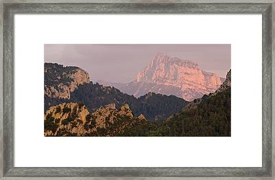 Framed Print featuring the photograph Pena Montanesa Sunset Panorama by Stephen Taylor