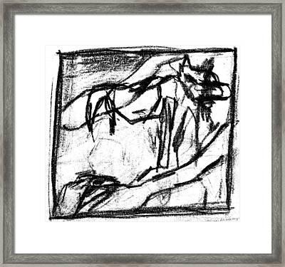 Pencil Squares Black Canine B Framed Print