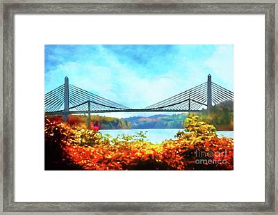 Penobscot Narrows Bridge In Autumn Framed Print