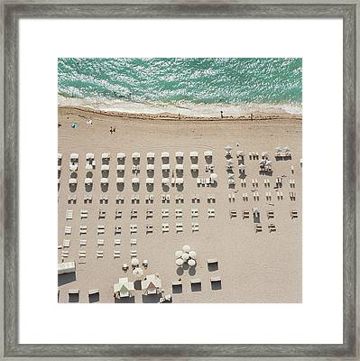 People At Beach, Using Rows Of Beach Framed Print by John Humble
