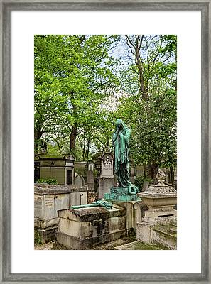 Framed Print featuring the photograph Pere Lachaise Cemetery I - Paris France by Melanie Alexandra Price