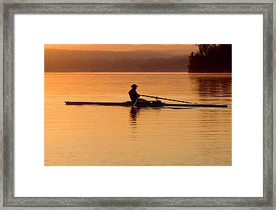 Person Rowing Sculling Boat On River Framed Print by Pete Saloutos