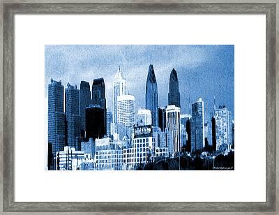 Philadelphia Blue - Watercolor Painting Framed Print