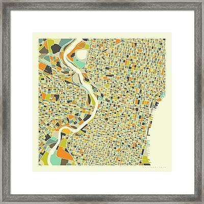 Philadelphia Map 1 Framed Print