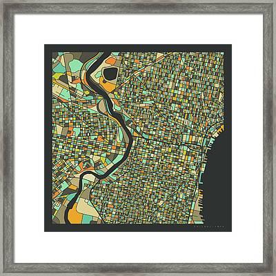 Philadelphia Map 2 Framed Print