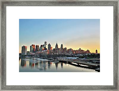 Philly Illuminated Framed Print by Valentin Prokopets