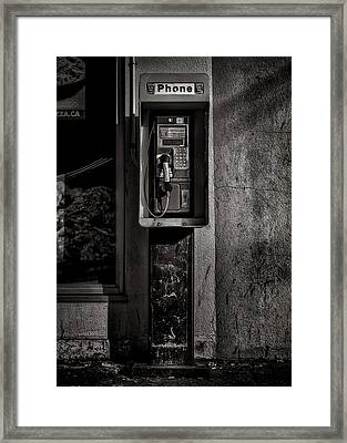 Framed Print featuring the photograph Phone Booth No 9 by Brian Carson