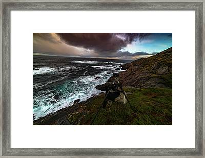 Photo Gear On Landscape Shot Framed Print