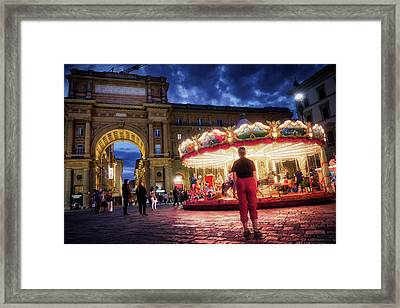 Piazza Della Reppublica At Night In Firenze With Painterly Effects Framed Print