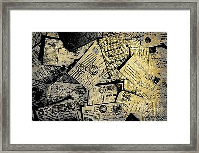 Piled Paper Postcards Framed Print