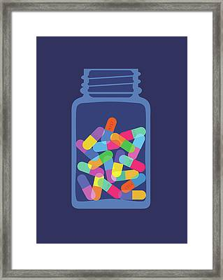 Pills And Capsules In Bottle Framed Print by Smartboy10